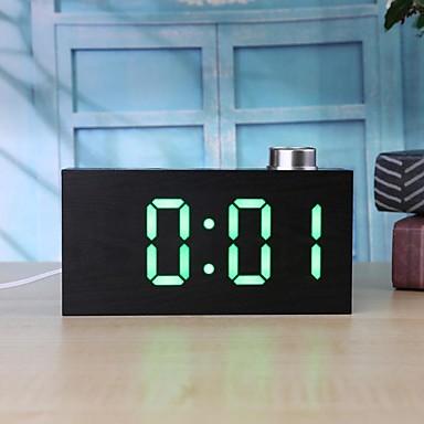ts-t12 דיגיטלי גרגר עץ ידית הוביל שעון מעורר w / טמפרטורה c / f להציג