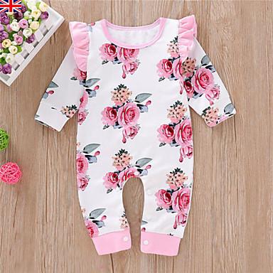 povoljno Odjeća za bebe-Dijete Djevojčice Aktivan / Osnovni Cvjetni print Print Dugih rukava Kombinezon Obala