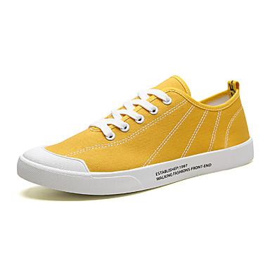 בגדי ריקוד גברים נעלי נוחות קנבס אביב קיץ יום יומי נעלי ספורט ללא החלקה שחור / אפור / צהוב