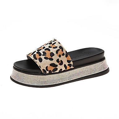 voordelige Damespantoffels & slippers-Dames Slippers & Flip-Flops Creepers Suède Zomer Geel / Groen / Lichtbruin