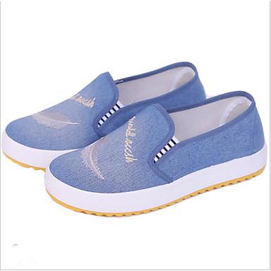 levne Dámské boty s plochou podrážkou-Dámské Bez podpatku Rovná podrážka Oblá špička Polyester Jaro Světle modrá / Tmavomodrá
