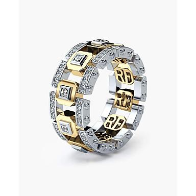 voordelige Herensieraden-Heren Dames Ring Zirkonia 1pc Goud Goud Rose Koper Verzilverd Geometrische vorm Stijlvol Verloving Dagelijks Sieraden Klassiek Lucky Mes rand Cool