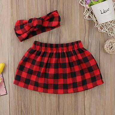 povoljno Odjeća za bebe-Dijete Djevojčice Aktivan / Osnovni Karirani uzorak Kratke hlače Red