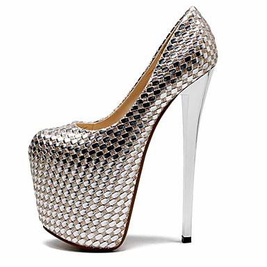 preiswerte Damenschuhe-Damen High Heels Stöckelabsatz Peep Toe Kunststoff Britisch / Minimalismus Frühling & Herbst / Sommer Gold / Hochzeit / Party & Festivität