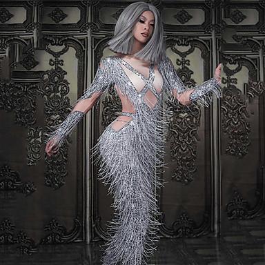 אקזוטי Dancewear האנפו / תלבושות מועדון בגדי ריקוד נשים הצגה ספנדקס פרנזים / קריסטלים / אבנים נוצצות שרוול ארוך / סרבל תינוקותבגד גוף