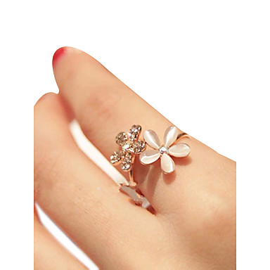 cheap Rings-Women's Open Ring Adjustable Ring Synthetic Diamond 1pc Rose Gold Rhinestone Stone Alloy irregular Artistic Asian Unique Design Daily Street Jewelry Mismatched Flower Shape Cute