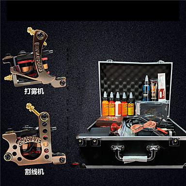 Tattoo Machine Professionell Tattoo Kit - 2 pcs Tatueringsmaskiner LCD strömförsörjning No case 2 x legering tatuering maskin för lining och skuggning