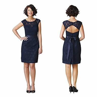 מעטפת \ עמוד עם תכשיטים קצר \ מיני תחרה מסיבת קוקטייל שמלה עם פפיון(ים) / כפתורים / תחרה משולבת על ידי JUDY&JULIA