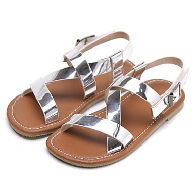ราคาถูก Thick Soled Sandals-เด็กผู้หญิง ความสะดวกสบาย Microfibre รองเท้าแตะ สีดำ / สีเงิน / เขียวเข้ม ฤดูร้อน
