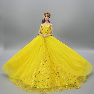 levne Doplňky pro panenky-Šaty pro panenky Party / Večírek Pro Barbie Světle žlutá Sytě červená Bílá Tyl Krajka Flitry Šaty Pro Dívka je Doll Toy