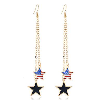 בגדי ריקוד נשים עגילי טיפה עגילים משתלשלים קלאסי דגל אמריקאי כוכב דגל תכשיטים פטריוטים פשוט ארופאי טרנדי אופנתי מודרני עגילים תכשיטים זהב עבור מתנה יומי רחוב פֶסטִיבָל זוג 1