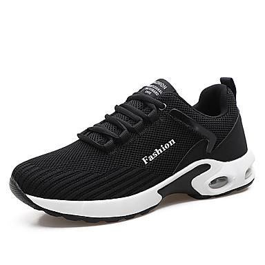 בגדי ריקוד גברים נעלי נוחות דמוי עור אביב קיץ / סתיו חורף ספורטיבי / יום יומי נעלי אתלטיקה ריצה נושם שחור / שחור לבן