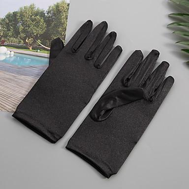 preiswerte Handschuhe für die Party-Elastischer Satin / Satin Handgelenk-Länge Handschuh Party / Abends / Elegant Mit Einfarbig