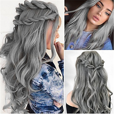 cheap Synthetic Trendy Wigs-Synthetic Wig Water Wave Middle Part Wig Long Grey Synthetic Hair 26 inch Women's Women Dark Gray