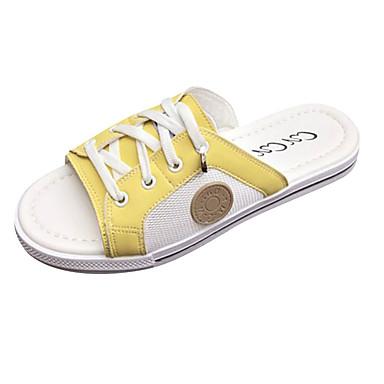 בגדי ריקוד נשים כפכפים & כפכפים נעלי נוחות שטוח PU יום יומי קיץ לבן / צהוב / ירוק בהיר