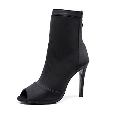 cheap Dance Boots-Women's Dance Shoes Elastic Fabric Dance Boots Chain Heel Slim High Heel Black / Red / Blue / Performance / Practice