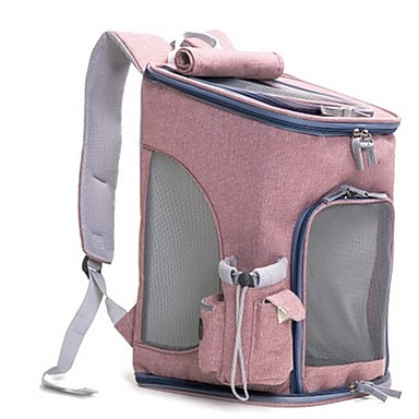 cheap Cat Beds & Carriers-Dog Rabbits Cat Carrier Bag & Travel Backpack For Outdoor Sporting Foldable Durable Solid Colored Fashion Oxford Fabric Pink Blue