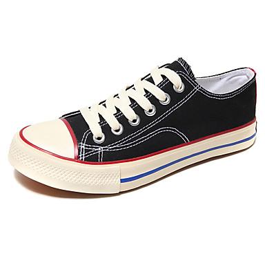 preiswerte Schuhe und Taschen-Herrn Komfort Schuhe Leinwand Frühling Sommer Freizeit Sneakers Atmungsaktiv Schwarz / Schwarz und weiss / Weiß