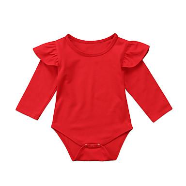 povoljno Odjeća za bebe-Dijete Djevojčice Aktivan / Osnovni Jednobojni Dugih rukava Jednodijelno Red