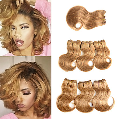 povoljno Ekstenzije od ljudske kose-6 Paketi s zatvaranjem Brazilska kosa Tijelo Wave Ljudska kosa Ekstenzije od ljudske kose tkati Kosa potke zatvaranje 8 inch Zlatna Isprepliće ljudske kose Žene proširenje Najbolja kvaliteta