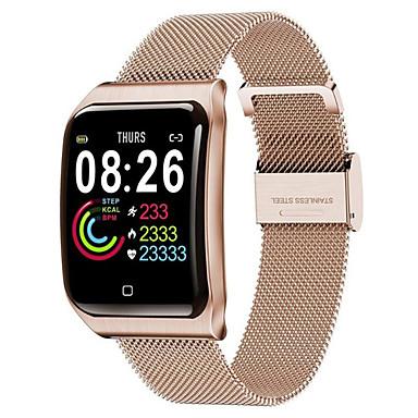 f9 smartwatch rustfritt stål bt fitness tracker support varsle & hjertefrekvensmonitor kompatible apple / samsung / android telefoner