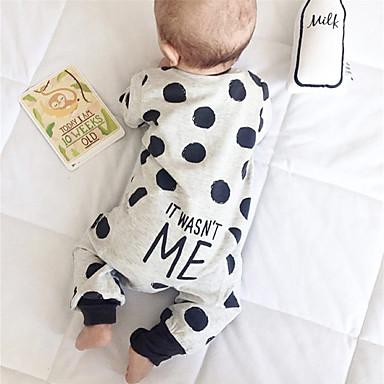 preiswerte Babykleidung-Baby Jungen Aktiv / Grundlegend Druck Druck Langarm Einzelteil Grau