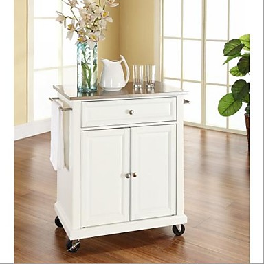 [$371.69] Stainless Steel Top Portable Kitchen Island Cart in White Finish
