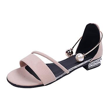 levne Dámské sandály-Dámské Sandály Nízký podpatek PU Na běžné nošení Léto Černá / Khaki