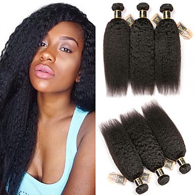 3 חבילות שיער הודי Kinky Straight שיער בתולי טווה שיער אדם שיער Bundle פתרון חפיסה אחת 8-28 אִינְטשׁ צבע טבעי שוזרת שיער אנושי ללא ריח איכות מעולה הגעה חדשה תוספות שיער אדם