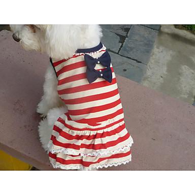 Katt Husdjur Hund T-shirt Hundkläder Mateial som andas Röd Kostym Cotton Rand Kärlek Ovanligt Stilig Abstrakt XS S M L XL
