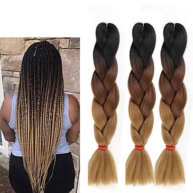 cheap Hair Braids-Crochet Hair Braids Jumbo Box Braids Natural Color Synthetic Hair 24 inch Braiding Hair 3 Pieces Heat Resistant