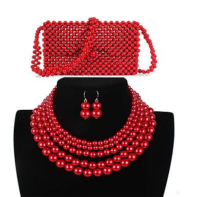 levne Dámské šperky-Dámské Červená Visací náušnice Náhrdelník Náušnice Korálky Jednoduchý Luxus Klasické Vintage Módní Napodobenina perel Náušnice Šperky Červená Pro Svatební Párty Zásnuby Dar Street 3 / İnci Kolyeler
