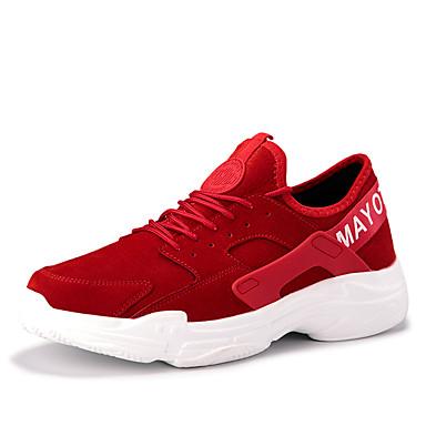 בגדי ריקוד גברים נעלי נוחות דמוי עור אביב קיץ / סתיו חורף יום יומי נעלי אתלטיקה נושם שחור / אפור / אדום