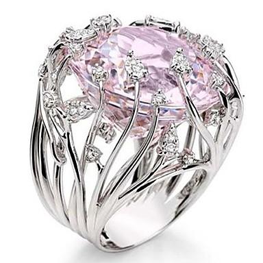 voordelige Band Ring-Dames Bandring Ring Kubieke Zirkonia 1pc Roze Edelsteen & Kristal Koper Geometrische vorm Stijlvol Luxe Feest Lahja Sieraden Cool