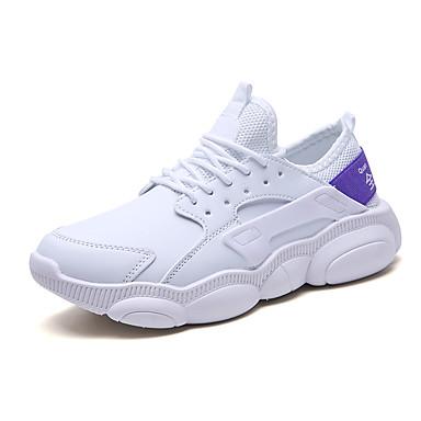 Homens Sapatos Confortáveis Com Transparência Outono / Primavera Verão Esportivo / Casual Tênis Corrida Respirável Branco e roxo / Branco / Bege / Absorção de choque