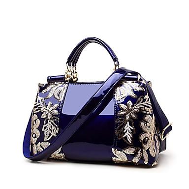 cheap Top Handles & Tote Bags-Women's Sequin / Zipper PU(Polyurethane) / PU Top Handle Bag Solid Color Black / Wine / Gold / Fall & Winter