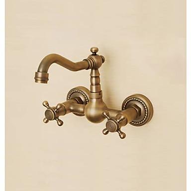 Badrum Tvättställ Kran - Utbredd Antik koppar Väggmonterad Två hål / Två handtag tre hålBath Taps