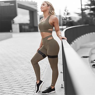 בגדי ריקוד נשים אימונית חליפת יוגה צבע אחיד יוגה ריצה כושר וספורט מכנסיים צמרות מידות גדולות ללא שרוולים לבוש אקטיבי קל משקל נושם תומך זיעה באט הרם מיקרו-אלסטי רזה
