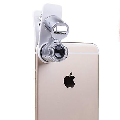 voordelige Microscopen & Endoscopen-mobiele telefoon microscoop macrolens 60x optische zoom vergrootglas micro camera universele clip voor iphone sumgung