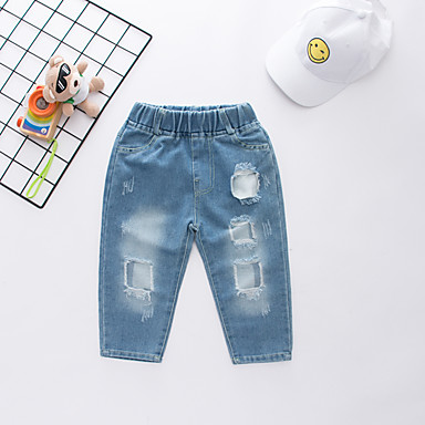 cheap Baby & Kids-Kids Boys' Active Street chic Print Cut Out Hole Ripped Cotton Jeans Blue