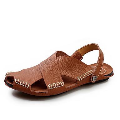 Ανδρικά Παπούτσια άνεσης PU Ανοιξη καλοκαίρι Καθημερινό Σανδάλια Αναπνέει Μαύρο / Ανοικτό Καφέ / Λευκό