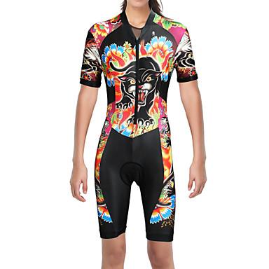 ilpaladino femme manches courtes tenue de triathlon trifonction noir chat animal floral