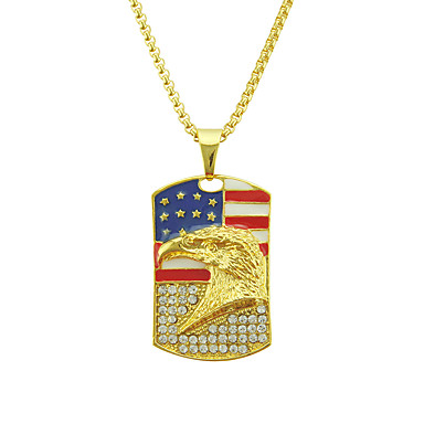 levne Pánské šperky-Pánské Kubický zirkon Náhrdelníky s přívěšky americká vlajka Eagle Vlajka Vlastenecké šperky Evropský Moderní Casual / Sportovní Chrome Zlatá 76 cm Náhrdelníky Šperky 1ks Pro Dar Denní Festival
