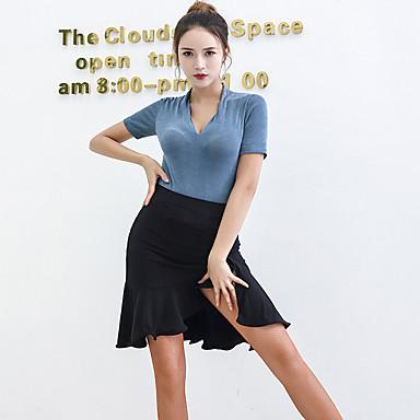 ריקוד לטיני תלבושות בגדי ריקוד נשים הצגה ספנדקס סלסולים / פרנזים שרוולים קצרים טבעי חצאיות / עליון