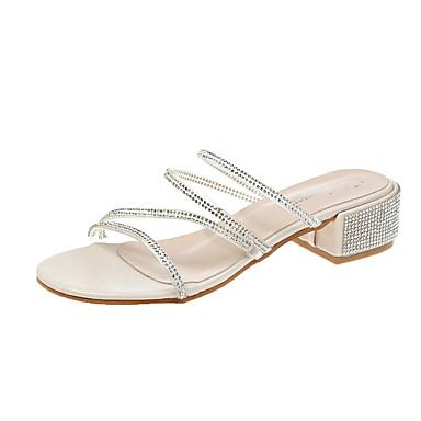 voordelige Damespantoffels & slippers-Dames Slippers & Flip-Flops Comfort schoenen Blokhak Strass PU Informeel Lente Zilver / Amandel