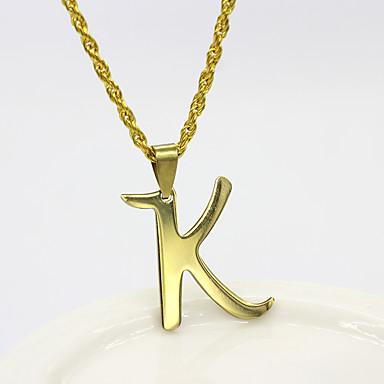 povoljno Modne ogrlice-Muškarci Žene Srebro Zlato Ogrlice s privjeskom Charm Necklace X Alphabet Shape Osnovni Tikovina Zlato Pink 50 cm Ogrlice Jewelry 1pc Za Dnevno