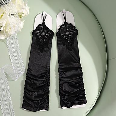 preiswerte Handschuhe für die Party-Spitze / Satin Ellenbogen Länge Handschuh Party / Abends / Elegant Mit Stickerei / Einfarbig