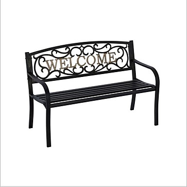 Superb 235 19 Cast Iron Welcome Park Bench Outdoor Patio Garden In Black Bronze Pabps2019 Chair Design Images Pabps2019Com