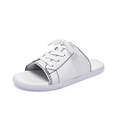 voordelige Damespantoffels & slippers-Dames Slippers & Flip-Flops Leren schoenen Platte hak Ronde Teen Leer Informeel / minimalisme Lente zomer Wit / Zwart