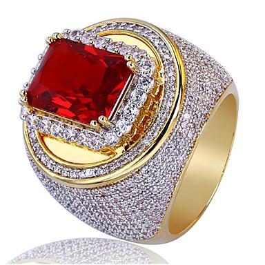 voordelige Herensieraden-Heren Ring Synthetische Ruby 1pc Goud Koper Geometrische vorm Stijlvol Feest Dagelijks Sieraden Klassiek Lucky Cool